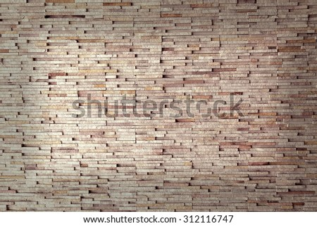 Weather worn brick wall interior pattern decoration vintage style - stock photo