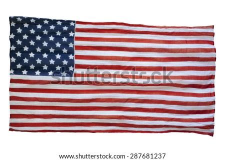 weathered American flag isolated on white background - stock photo