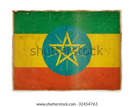 weathered flag of Ethiopia, paper textured - stock photo