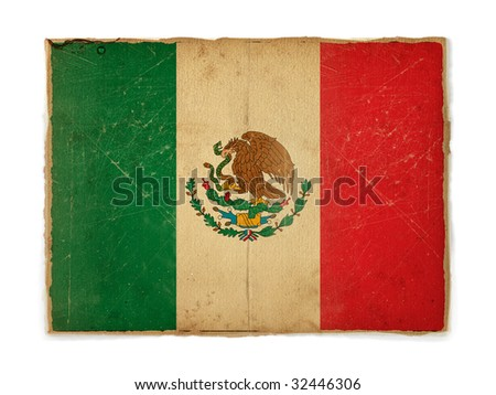 weathered flag of Mexico, paper textured - stock photo