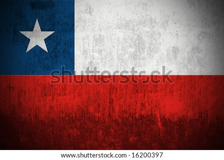 Weathered Flag Of Republic of Chile, fabric textured - stock photo
