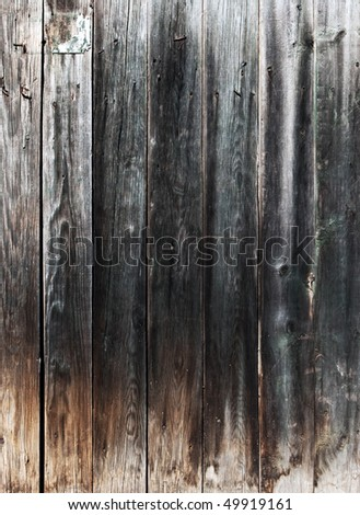 Weathered gray wooden plank with a nails - stock photo