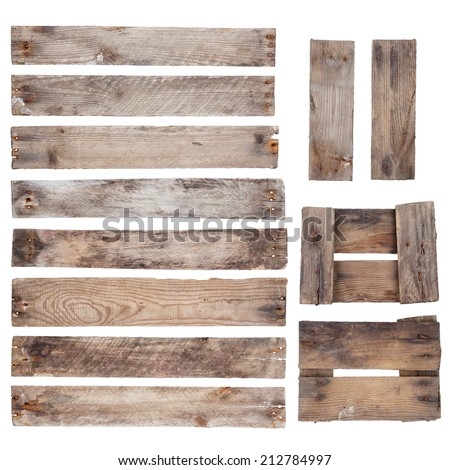 Weathered old wooden planks with rustic nails isolated on white background - stock photo