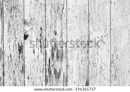 Weathered paint peels off wooden boards in detail - stock photo