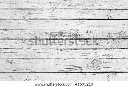 Weathered painted white wooden plank - stock photo