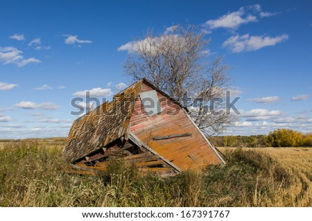 weathered shed decaying - stock photo
