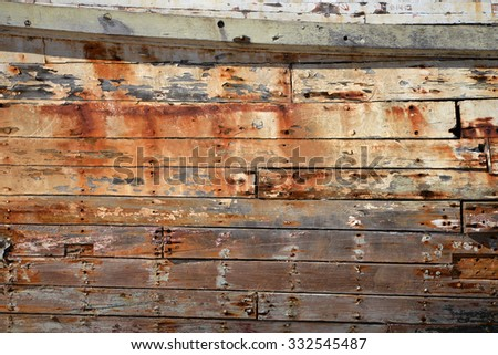 weathered side of old ship  - stock photo
