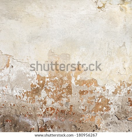 weathered stucco brick wall background - stock photo