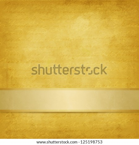 Weathered yellow background with ribbon - stock photo