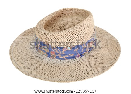 Weave brown women hat with blue ribbon isolated on white - stock photo