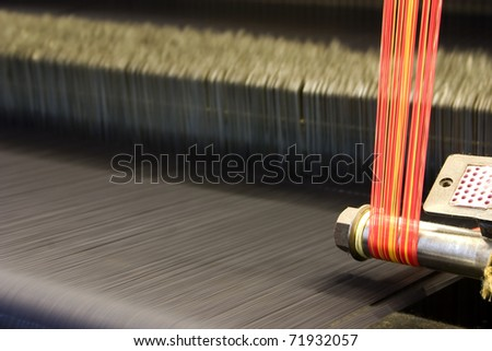 Weave cloth with colorful threads, abstract view. - stock photo