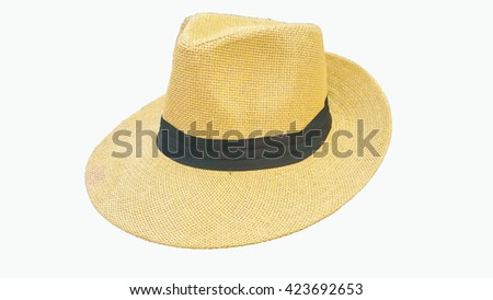 Weave hat on a white background . - stock photo