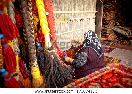 Weaver on Traditional Turkish Hand Loom - stock photo