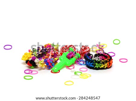 Weaving bracelets rubbers - stock photo