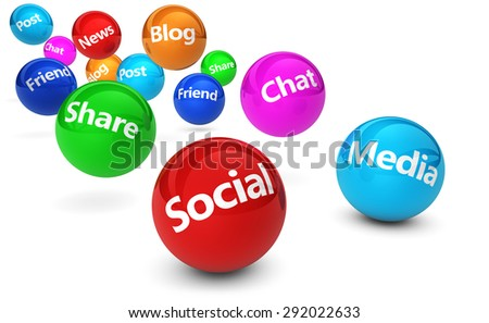Web and Internet concept with social media and social network signs and words on bouncing colorful spheres isolated on white background. - stock photo