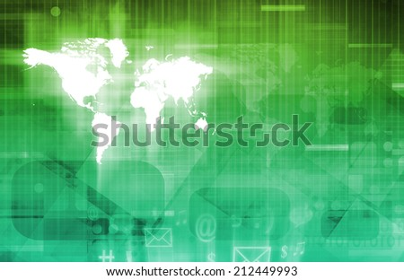 Web Application Database System in Tech Background - stock photo