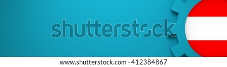 Web Banner, Header Layout Template. Gear and Austria flag within. 3D rendering - stock photo