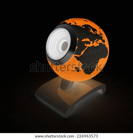 Web-cam for earth.Global on line concept on a black background - stock photo