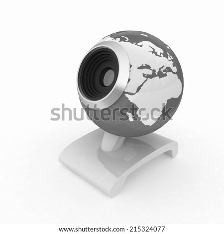 Web-cam for earth.Global on line concept on a white background - stock photo