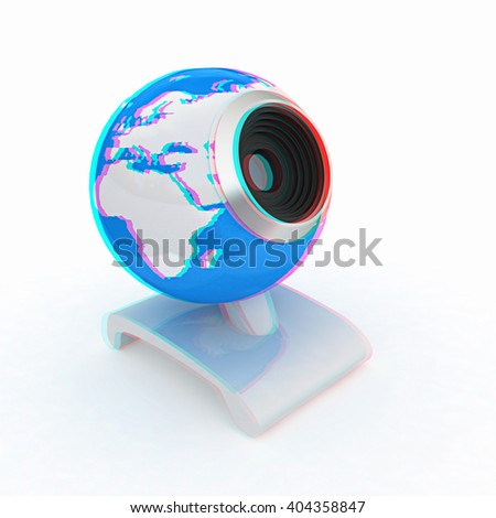 Web-cam for earth. Global on line concept on a white background. 3D illustration. Anaglyph. View with red/cyan glasses to see in 3D. - stock photo