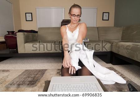 Web Cam Striptease #10 - stock photo