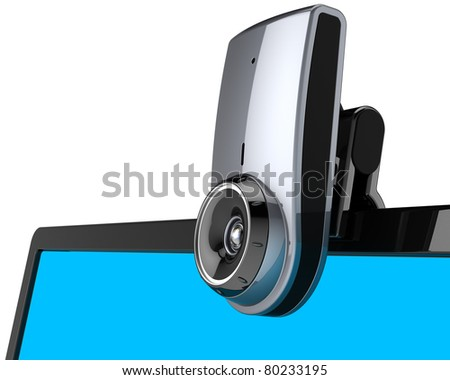 Web camera computer communication multimedia equipment on lcd blank monitor close-up view. Internet meeting video chat concept. Detailed render 3d image. Isolated on white background - stock photo