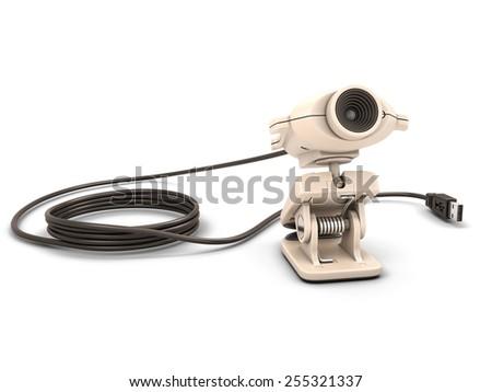 Web camera isolated on white background. 3d render image. - stock photo
