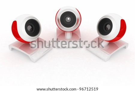 Web-cams.Shooting with three points - stock photo