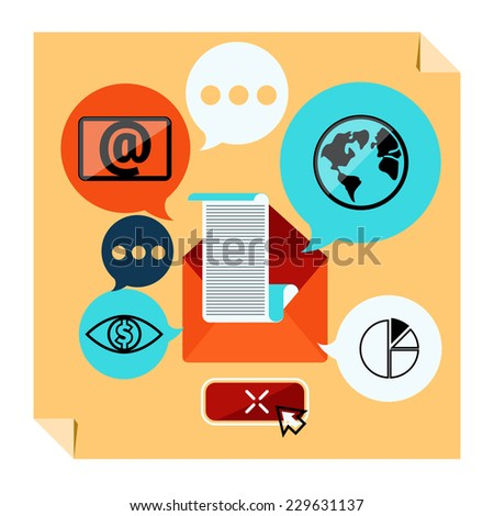 Web contact and business newsletter concept with an email envelope and symbols of chart global dollar eye. Distributed news e-mail with some topics of interest to its subscribers. Raster version - stock photo
