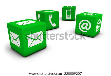 Web contact us Internet concept with email, mobile phone and at icon and symbol on four green cubes for website, blog and on line business. - stock photo