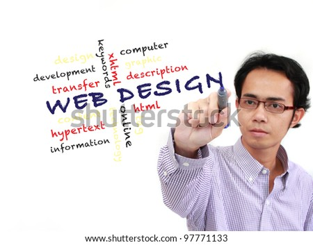 web design concept and other related words, Asia Businessman writing on white board - stock photo