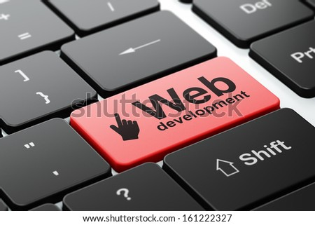 Web design concept: computer keyboard with Mouse Cursor icon and word Web Development, selected focus on enter button, 3d render - stock photo