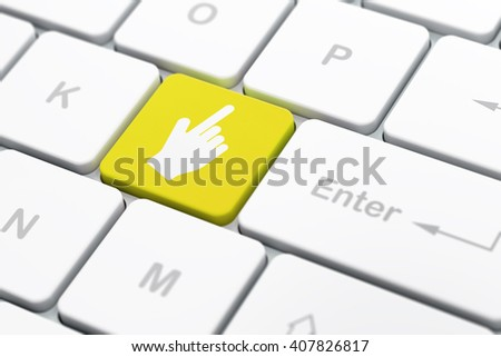 Web design concept: computer keyboard with Mouse Cursor icon on enter button background, selected focus, 3D rendering - stock photo