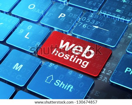 Web design concept: computer keyboard with word Web Hosting on enter button, 3d render - stock photo