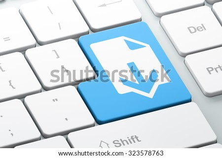 Web design concept: Enter button with Download on computer keyboard background, 3d render - stock photo