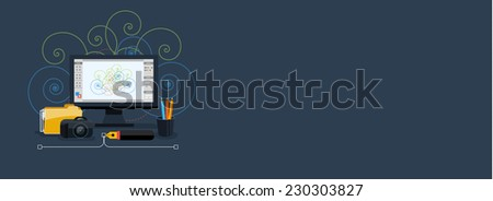 Web design concept. Graphic design banner with icons. Raster version - stock photo