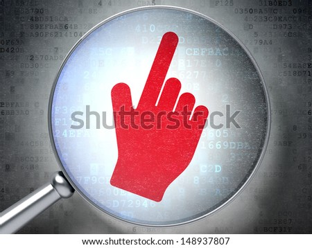 Web design concept: magnifying optical glass with Mouse Cursor icon on digital background, 3d render - stock photo
