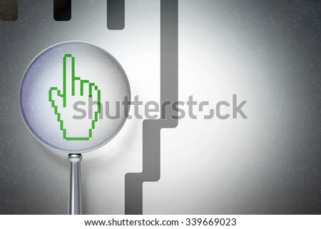 Web design concept: magnifying optical glass with Mouse Cursor icon on digital background, empty copyspace for card, text, advertising - stock photo