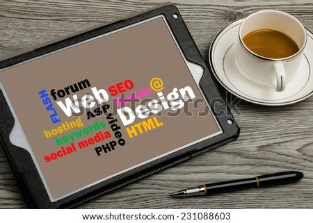 web design concept on touch screen background - stock photo