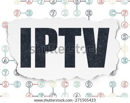 Web design concept: Painted black text IPTV on Torn Paper background with Scheme Of Hexadecimal Code, 3d render - stock photo