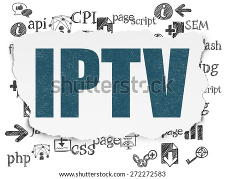Web design concept: Painted blue text IPTV on Torn Paper background with  Hand Drawn Site Development Icons, 3d render - stock photo
