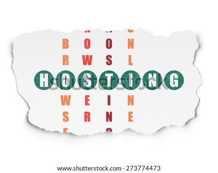 Web design concept: Painted green word Hosting in solving Crossword Puzzle on Torn Paper background, 3d render - stock photo