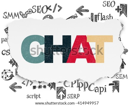 Web design concept: Painted multicolor text Chat on Torn Paper background with  Hand Drawn Site Development Icons - stock photo