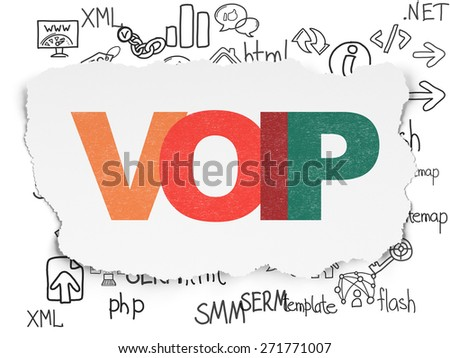 Web design concept: Painted multicolor text VOIP on Torn Paper background with  Hand Drawn Site Development Icons, 3d render - stock photo