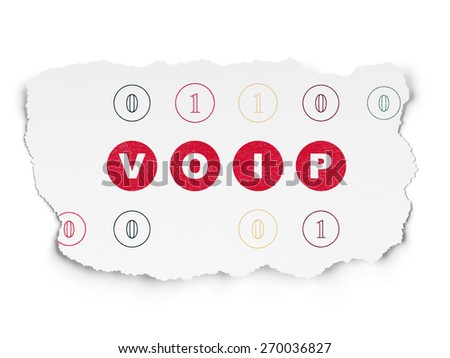 Web design concept: Painted red text VOIP on Torn Paper background with Scheme Of Binary Code, 3d render - stock photo
