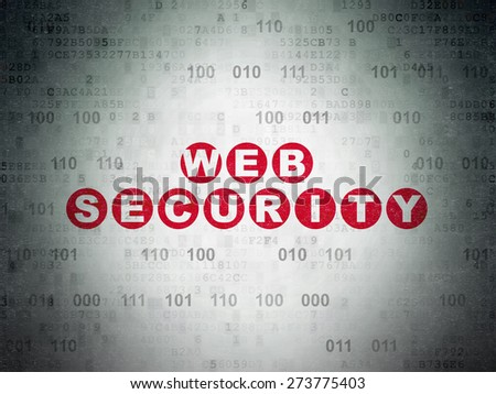 Web design concept: Painted red text Web Security on Digital Paper background with Binary Code, 3d render - stock photo