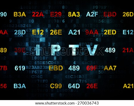Web design concept: Pixelated blue text IPTV on Digital wall background with Hexadecimal Code, 3d render - stock photo