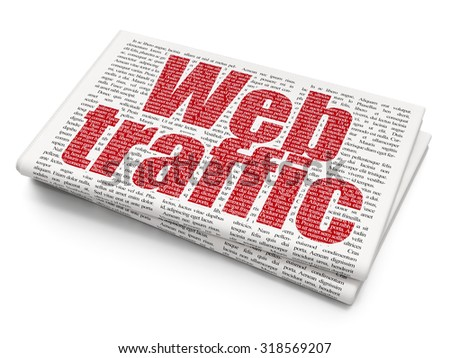 Web design concept: Pixelated red text Web Traffic on Newspaper background - stock photo