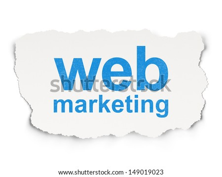 Web design concept: torn paper with words Web Marketing on Paper background, 3d render - stock photo