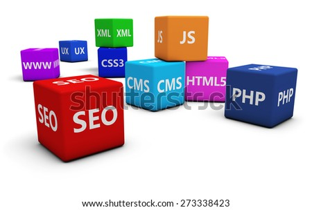 Web design development, Internet and SEO concept with programming language sign on colorful cubes isolated on white background. - stock photo